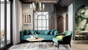 Tông màu xanh lá cuốn hút bao trùm căn hộ hiện đại