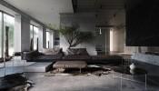 Mẫu thiết kế nội thất nhà 2 tầng tối màu với đá, đá cẩm thạch và bê tông