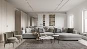 Thiết kế nội thất căn hộ chung cư hiện đại với đá cẩm thạch ở Moscow