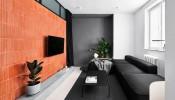 Thiết kế căn hộ chung cư diện tích nhỏ 40m2 với tông đen, trắng và gỗ