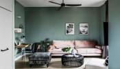 Sắc xanh lá dịu mát ngập tràn trong căn hộ 70m2