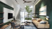 Nhà đẹp với giếng trời và nội thất ngập tràn sắc xanh
