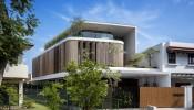 Bamboo Veil House – Ngôi nhà liền kề nằm trên mảnh đất hình thang của gia chủ yêu tre tại Singapore