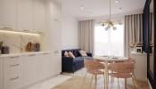 Phối màu hồng và xanh đậm trong thiết kế nội thất tạo nét trẻ trung mà sang trọng cho ngôi nhà