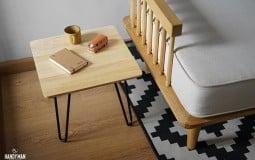 Đặc biệt phòng khách - Bàn trà chân sắt mặt gỗ  hình vuông