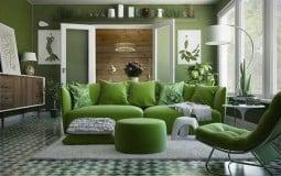 """""""Giải nhiệt"""" ngày hè với những mẫu phòng khách xanh mướt"""