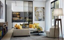 Nội thất màu vàng tạo cảm giác ấm áp cho phòng khách