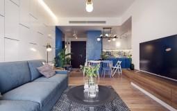 Sự kết hợp tuyệt vời giữa trắng và xanh dương trong căn hộ 82m2