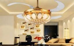 Quạt trần đèn chùm trang trí nội thất phòng khách thêm sang trọng