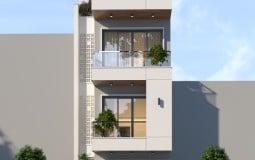 Phối cảnh kiến trúc mới:  Nhà 3 tầng 1 tum mặt tiền 4m hiện đại
