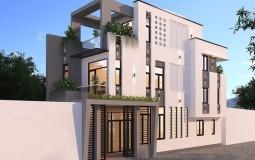 Mê mẩn mẫu nhà 1 trệt 2 lầu sân thượng kiến trúc hiện đại