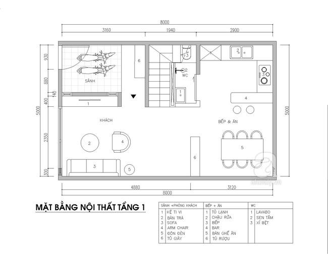 Tư vấn thiết kế nội thất nhà phố 2,5 tầng