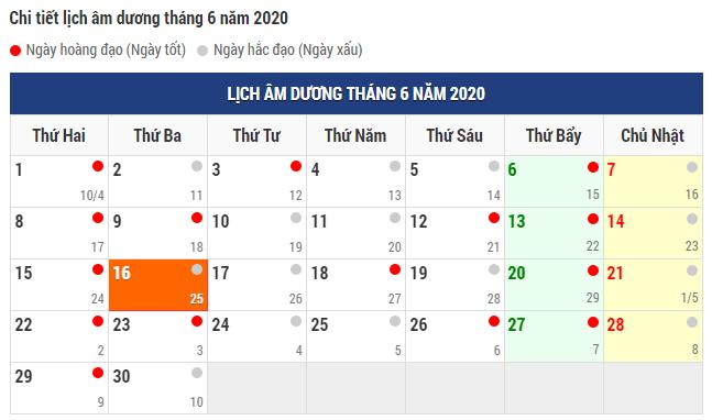 Xem chọn ngày tốt tháng 6 năm 2020 chuẩn xác nhất